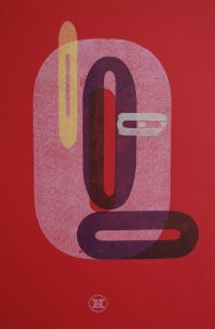 Red Os letterpress Art Bridget Murphy Design Printmaking