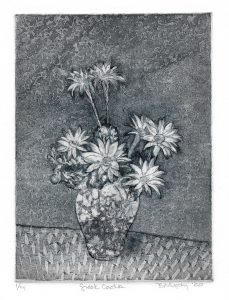 Greek Cactus art Bridget Murphy Design Printmaking