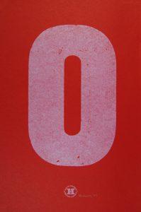 Large Red O letterpress Art Bridget Murphy Design Printmaking