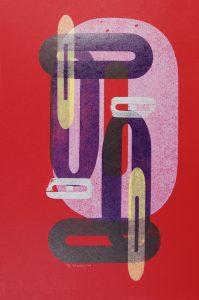 Red Double Os letterpress Art Bridget Murphy Design Printmaking