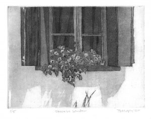 Skopelos Window Greece art Bridget Murphy Design Printmaking