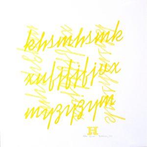 Yellow lines letterpress Art Bridget Murphy Design Printmaking