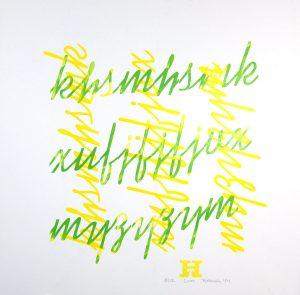 yellow green letterpress Art Bridget Murphy Design Printmaking