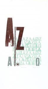 alpha omega letterpress Art Bridget Murphy Design Printmaking