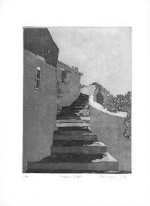 Greek Steps Greece Art Bridget Murphy Design Printmaking